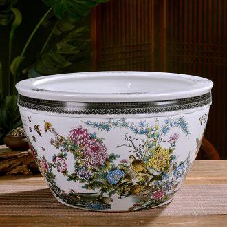 Jingdezhen ceramics large turtle basin bowl lotus lotus goldfish bowl lotus cylinder tank sitting room furnishing articles