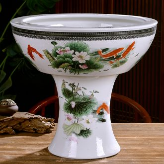 Jingdezhen ceramics large pillar landing fish tank water lily bowl LianHe flowerpot cylinder sitting room adornment big furnishing articles