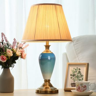 American ceramic lamp of bedroom the head of a bed lamp warm romantic Jane Europe contracted household remote control dimmer personality decoration