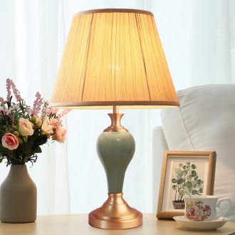 American ceramic desk lamp full copper contracted and contemporary sitting room study of bedroom the head of a bed sweet romance warm light household decoration