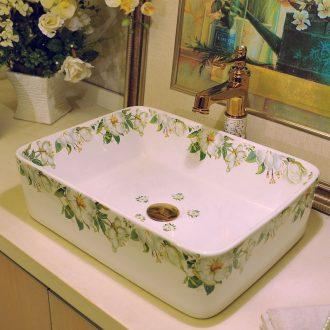 Package mail european-style rectangle jingdezhen art basin lavatory sink the stage basin & ndash; Lily peony