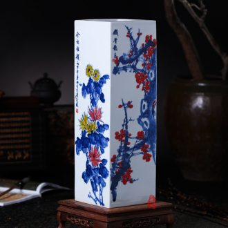 Master of jingdezhen ceramics hand-painted color plum chrysanthemum bottles of painting and calligraphy tube ground tube of the study of calligraphy and painting furnishing articles