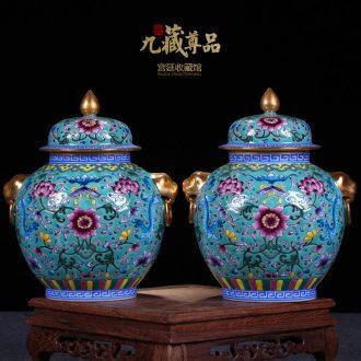 Jingdezhen ceramics vase antique hand-painted enamel bound lotus flower paint pot caddy general furnishing articles