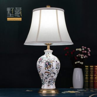 Modern American desk lamp decoration ceramics art design hand-painted copper whole sitting room the bedroom of the head of a bed new Chinese style lamps and lanterns