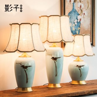 Modern Chinese style full copper ceramic desk lamp hand-painted magpie sitting room bedroom bed hotel study adornment lamps and lanterns is 1008