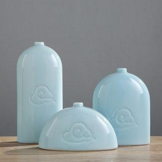 Jingdezhen ceramic vase household soft adornment three-piece furnishing articles sitting room of Chinese style art TV ark decoration