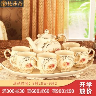 Vatican Sally's European ceramic tea set with tray home English afternoon tea cup suit small luxury