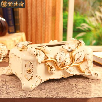 The master bedroom adornment is placed ceramic tissue box creativity european-style luxury living room table cartons of tea table decorations