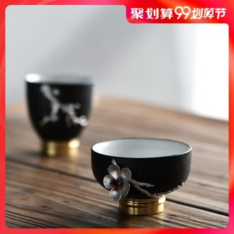 Hong bo acura dehua white porcelain silver copper feet hand-painted ceramic cup sample tea cup cup kung fu master cup single cup