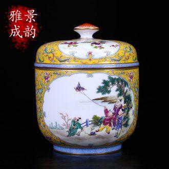 Jingdezhen ceramic hand-painted tong qu pu 'er tea caddy seal tank home installed tank storage tank is large