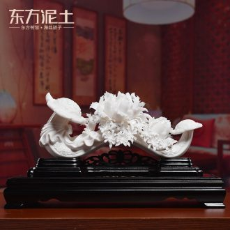 Oriental clay ceramic flower sculpture art ruyi furnishing articles of Chinese wine TV ark sitting room decoration