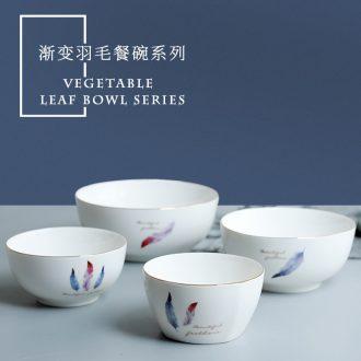 Jingdezhen ceramic bowl domestic large noodle soup bowl Japanese contracted Nordic eat bowl under glaze color porcelain tableware