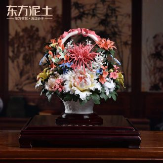 Oriental soil dehua white porcelain sculpture art ceramic furnishing articles of Chinese style living room decoration decoration/flowers