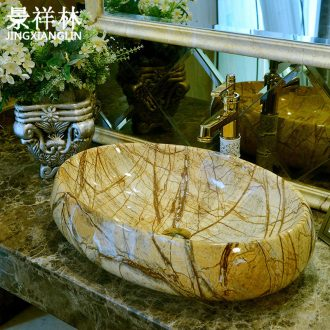 Imitation marble art stage basin oval ceramic lavatory European contracted wind basin on the sink