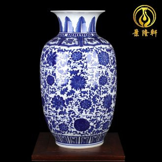 Jingdezhen ceramics large blue and white vase put lotus flower wax gourd bottle home sitting room adornment TV ark furnishing articles
