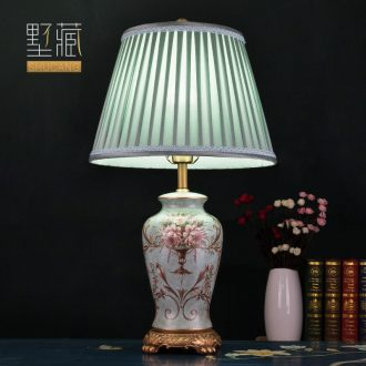 American Europe type desk lamp ceramic decoration art designer retro pattern all copper lamps and lanterns of the sitting room the bedroom of the head of a bed