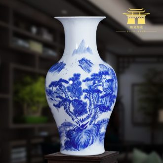 Jingdezhen ceramics landscape painting large blue and white porcelain vases, flower arrangement antique Chinese style household hotel floor furnishing articles