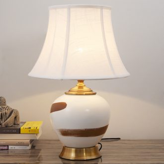 New Chinese style ceramic desk lamp contracted and contemporary bedroom berth lamp creative bed ou sweet romance warm light decoration