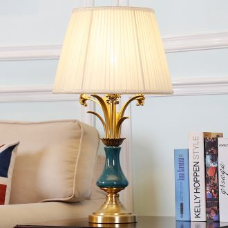 American marriage room contracted rural sweet villa ceramic desk lamp pure copper fashion contracted sitting room lamps and lanterns of bedroom the head of a bed