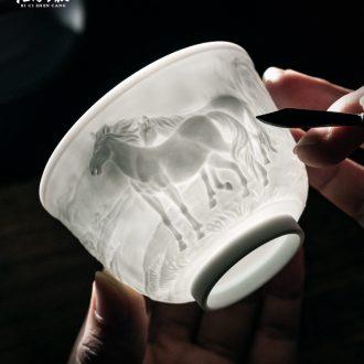 Jingdezhen ceramic manual sculpture master kung fu tea cups individual cup cup single cup tea tureen gift mugs