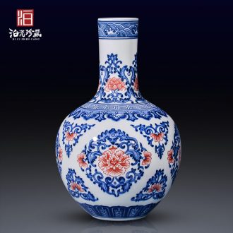 Jingdezhen ceramic antique hand-painted dried flowers large blue and white porcelain vase furnishing articles new Chinese style living room decoration craft gift