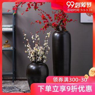 Jingdezhen company flower arranging Chinese vase landing the sitting room porch decoration large matte ink furnishing articles hotel vase