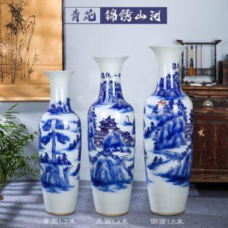 Vase of jingdezhen ceramic floor big hand big blue and white porcelain vase vase sitting room hotel decoration floor furnishing articles