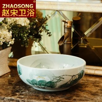 The European style of song dynasty contracted and contemporary ceramic basin size of household toilet lavabo balcony sink on stage