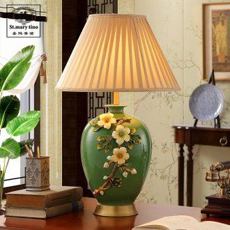 Ceramic lamp sitting room bedroom berth lamp full copper colored enamel decoration lamp to restore ancient ways American French green sample