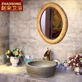 The Nordic elliptic toilet bathroom mirror hanging ceramic sink basin on the round mirror mirror restoring ancient ways makeup mirror
