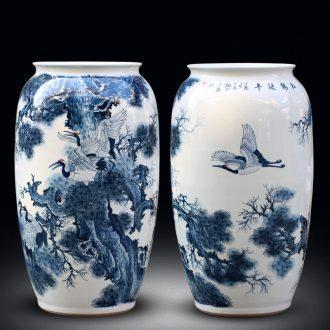 Jingdezhen ceramics hand-painted large blue and white porcelain vase pine crane live home sitting room adornment furnishing articles