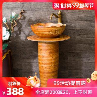 Spring rain ceramic basin of pillar type lavatory toilet lavabo one floor balcony art pillar sculpture