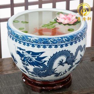 Jingdezhen ceramic aquarium goldfish large blue and white turtle slept GangPen bowl lotus narcissus basin of lotus cylinder betelnut POTS