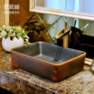 Rectangular basin ceramic art basin Europe type restoring ancient ways lavatory toilet lavabo, hand basin to the stage