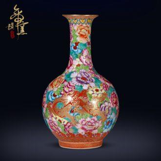 Jingdezhen ceramics archaize qing qianlong enamel dragon wear Chinese style flower vase sitting room porch crafts