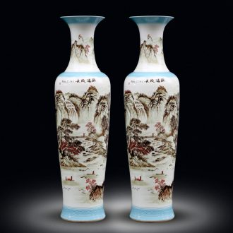 Jingdezhen hand-painted color ink landscape ceramic vase of large new Chinese style living room decorate bottle hotel furnishing articles