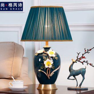 All American copper colored enamel lamp sweet bedroom berth lamp European creative ceramic new Chinese style wedding room living room