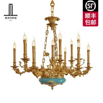 French full copper ceramic chandeliers bedroom luxury european-style villa palace restoring ancient ways of creative pure copper sitting room dining-room droplight