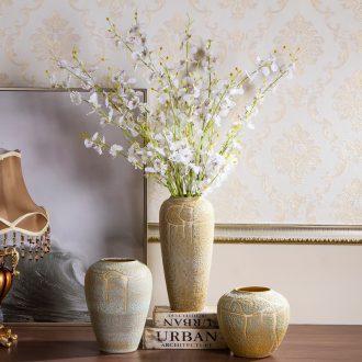 Jingdezhen ceramic vases, flower arranging coarse pottery Chinese porcelain art restoring ancient ways furnishing articles pottery dry flower vases sitting room