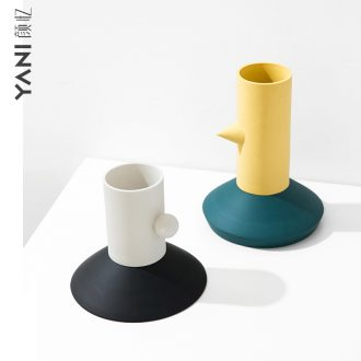 The Nordic ins contemporary household ceramic vases, furnishing articles sitting room flower arranging creative decorations Memphis flower decoration
