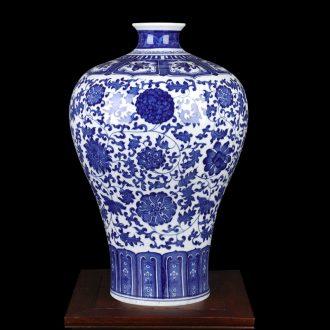 Jingdezhen ceramic phase of archaize sitting room of Chinese style household large blue and white porcelain vase illustration handicraft mei bottles of TV ark
