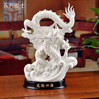 Oriental clay ceramic dragon furnishing articles dehua white porcelain sculpture technology office business gifts/longteng everywhere