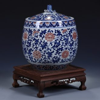 Blue and white youligong jingdezhen ceramics furnishing articles high-grade hand-painted archaize pot cover decoration art
