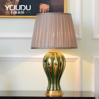 The Nordic full copper lamp American warm sitting room desk lamp of bedroom the head of a bed study villa hotel ceramic pure copper lamp