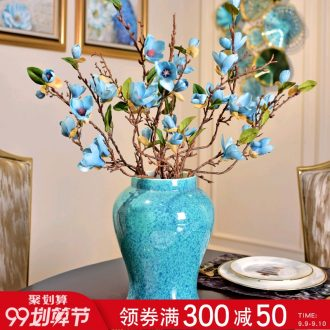Murphy neoclassical monochromatic glazed pottery porcelain vase suit sitting room of new Chinese style household soft outfit creative floral decorations