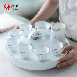 Imperial springs Japanese kung fu ceramic tea set cups lid bowl set of contemporary and contracted household hand-painted