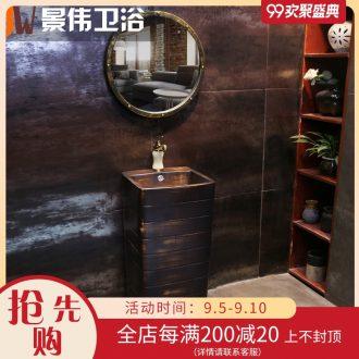 JingWei industrial brick art pillar basin integrated wind restoring ancient ways lavatory floor archaize ceramic sink basin
