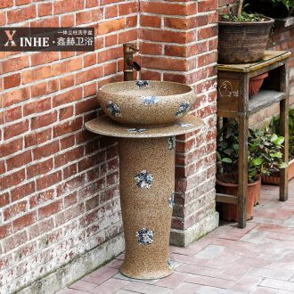 Lavabo jingdezhen ceramic column outdoor toilet floor integrated art basin vertical column commode