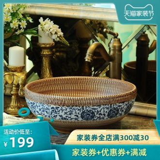 Jingdezhen ceramic stage basin round of European art basin lavatory sink archaize wash gargle contracted