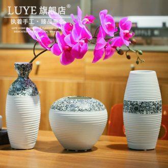 Retro ceramic white vase dry flower POTS sitting room decorate ceramic flower implement zen coarse pottery flower arranging furnishing articles